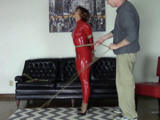 Enchantress Sahrye - Red Latex Catsuit and Jute Rope
