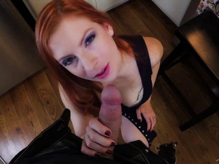 big tit redhead slut fucked in kitchen