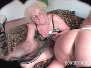 Grandma and granddaughter in natural sex