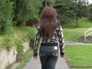 kayla-dildo trousers public double penetration part2