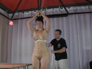 Belt Hogtie infront of live audience