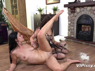 Pissing two whores near the fireplace