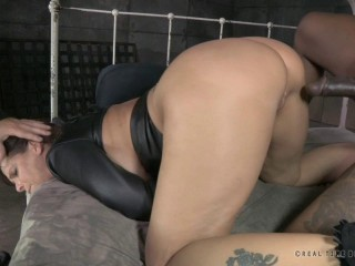 Toned MILF double penetrated by two hard cocks while strictly straightjacketed