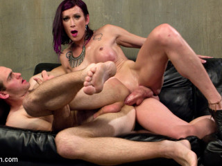 TS Film directors works her actors with her giant hard cock!