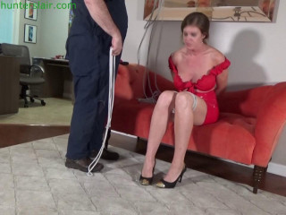 Tall busty MILF's first bondage experience