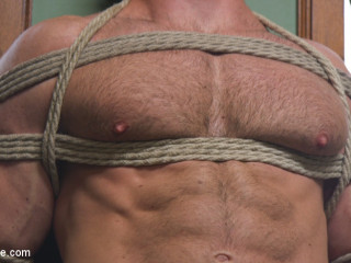 Furry Muscular Stud is Bound and Edged on a Pool Table!
