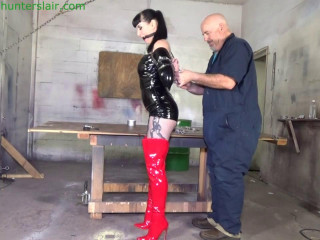 Twisted up in a painful strict hogcuffed reverse prayer
