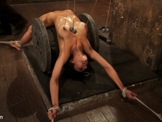 Uber-sexy dark haired experiences nipple torture, brutal chastity belt and extraordinary bondage.