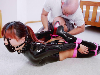 Black Stretch Bodysuit Hogtied - Mina - Full HD 1080p