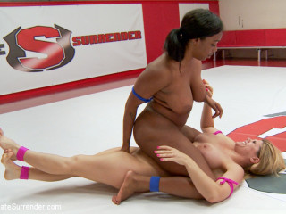 Busty Wrestlers wear each other down with tit and rump smoothering