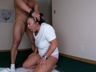 Girl deepthroat gagging and puking