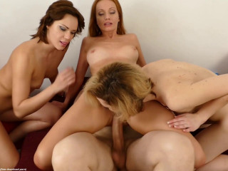 Three Milfs Fuck & Share Hard Cock