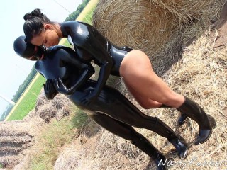 Rubber Pony Dressing And Dildo Fuck In The Hay Pt 1