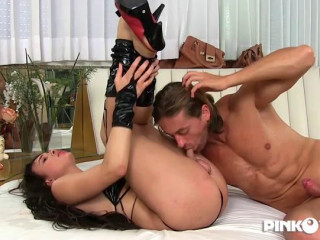 PinkoTGirls - A Pole For Lap Dance And A Cock Between My Legs To Suck