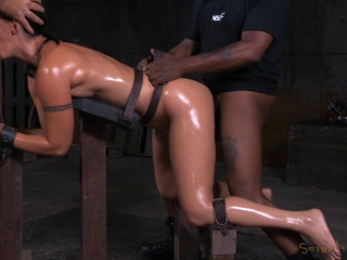 Fit Cougar Wenona belted in strict restrain bondage and toughly fucked with Big black cock