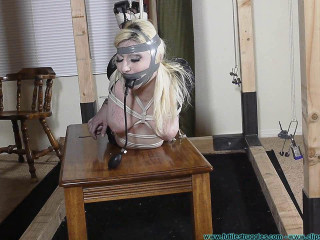 Olivia Rose Hogtied and Pump Gagged Tight 2 part - Extreme, Bondage, Caning