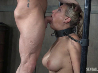 Angel Allwood is neck tied on a Sybian saddle and gullet smashed while violently nutting over and over!