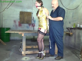 Party girl brings in the New Year with a strict chickenwing hogtie