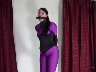 Paige Erin Turner - Purple Catsuit and Leather Armbinder