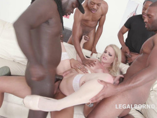 Sexy Blond Lisey Sweet In Hard Interracial Gangbang With DP