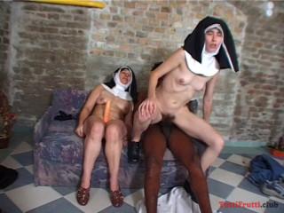 Unshaved Nuns enjoys ebony cumbot