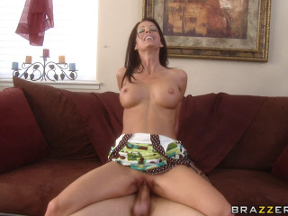 Foxy Dark-Haired Lady Seduces A Young Guy