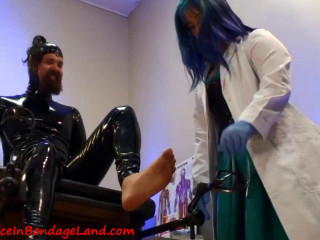Horny Spandex Prostate Examination - Electrified Cock and ball torture Masturbating with Physician Alice