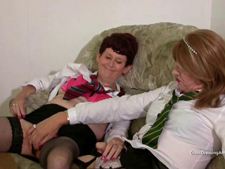 Mature ginger pubed female with a crossdresser