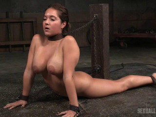 Obese Jean Michaels gets the Sexuallybroken treatment, bound and sucking on 2 thick cocks!