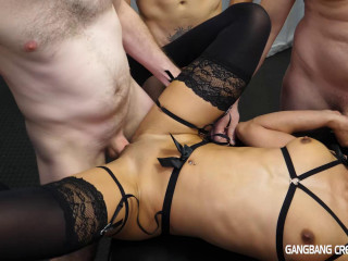 Hot Slut Gangbanged By Many Cocks With Creampie