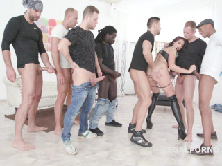Brutal 10on1 Double Anal Gangbang For Jolee Love
