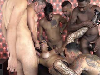 Barbara Alves 5on1 Group sex