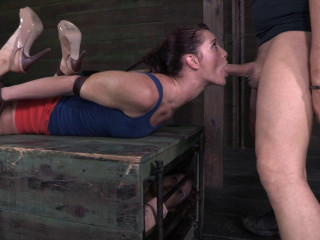 Lanky fit redhead Cici Rhodes hogtied on a box and made to service cocks