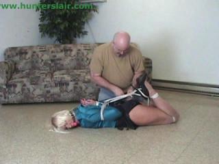 Blonde MILF secretary cruel reverse prayer hogtied