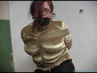 Busty redhead in glasses Gagged 4X and Frogtied Tight! - Part 2