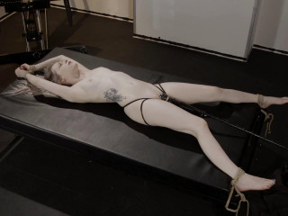 Fragile Slave Violet October is Spread in Bondage and made to Cum