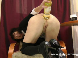 Gigantic Prolapse And Huge Wine Bottle In Ass