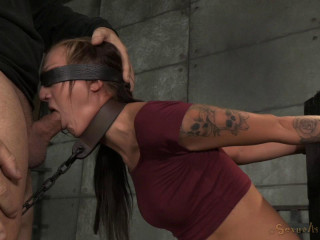 Dark-haired new-comer Kendra Cole is shackled down with aggressive pounding gargle by 2 firm cocks!