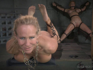 Simone Sonay is ass-fucked and vibrated, draped in brutal hogtie!