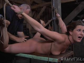 Super bondage, hogtie and torture for beautiful naked girl part 2