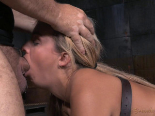 Pretty light-haired Madelyn Monroe strapped face down, caboose up and toughly pummeled with fierce deepthroat!