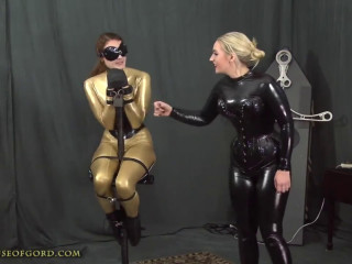 Super bondage, domination and hogtie for sexy models in latex