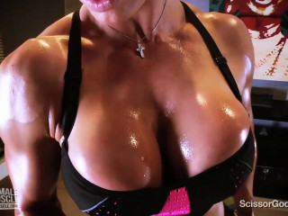 Muscley goddess ecstasy works out and gets sweaty