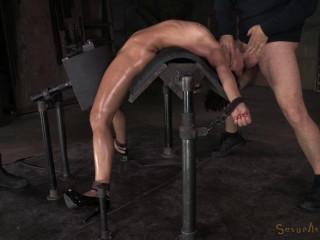 Exotic newcummer Mia Austin stiffly bound in back arch