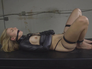 Blonde In Leather Straightjacket With Non Stop Orgasms