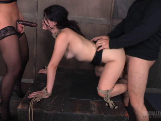 Yhivi Tied to Box and Fucked From Both Ends By Couple!