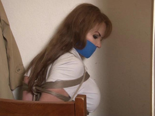 Bound and Ball-gagged -Busty Alexis Taylor Bound in the Closet