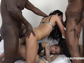 Black DP Gangbang For Tight Whores