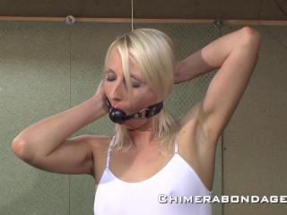 Blonde gagged bondage