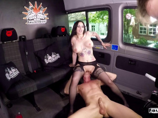 Xania Raw - Muddy talking German hottie gets jism on milk cans in kinky bus penetrate (2017)